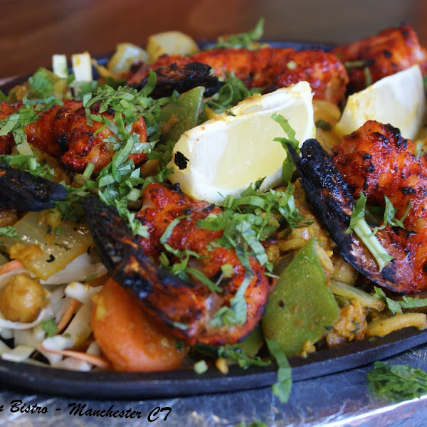 Tandoori Shrimp ( #GlutenFree ) - Prawns marinated in spiced yogurt and cooked in Tandoor, served on bed of mixed vegetables