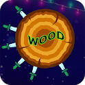 Hit with knife at wood icon
