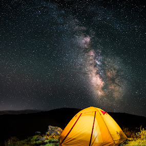 Dark Sky Camp Site by Tom Moors - Landscapes Starscapes ( shining rock, light painting, camping, pisgah, tent, astrophotography, composite, milky way )