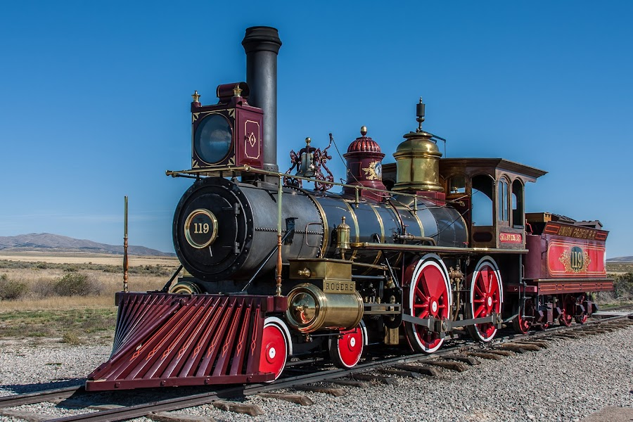 No. 119 by Craig Pifer - Transportation Trains ( history, golden spike national historic site, promontory, utah, railroad, locomotive, union pacific, no. 119, steam power, trains, golden spike )