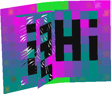 black words pink cyan green blue with it to