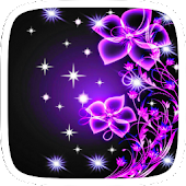 Purple Neon Flower Theme