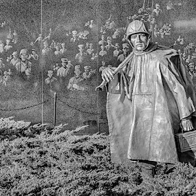 Reflecting by Craig Pifer - Buildings & Architecture Statues & Monuments ( statue, memorial, veterans, washington dc, korea veterans memorial, korea, war, granite )