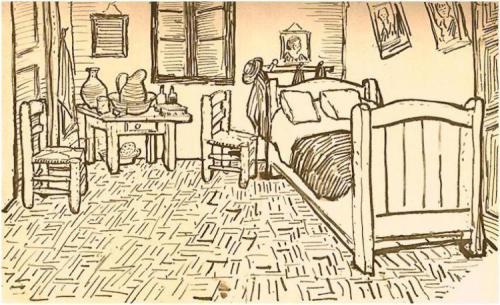 Ink-drawing-of-the-bedroom-in-arles-1888