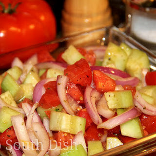 Simple Italian Cucumber, Onion and Tomato Salad