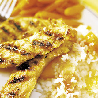 Asian Chicken Tenders, Honey-Glazed Carrots and Tropical Fruit Rice
