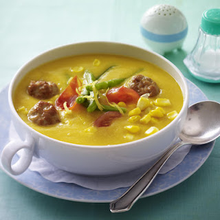 Bean and Corn Soup with Sausage Meatballs