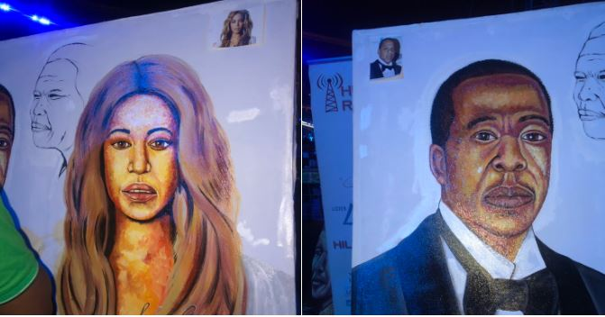 Rasta was at the Global Citizen Festival: Mandela 100 concert on Sunday where he painted a portrait of Beyoncé and Jay-Z.
