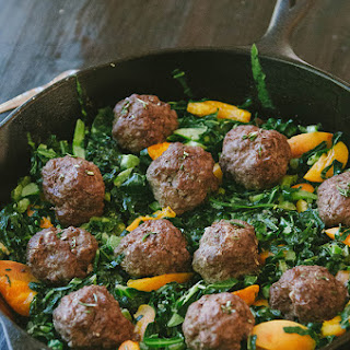Rosemary Meatballs With Dijon Collard Greens & Apricots.
