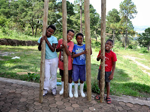 Photo: Posts for erecting a bathing area for the visiting boys.