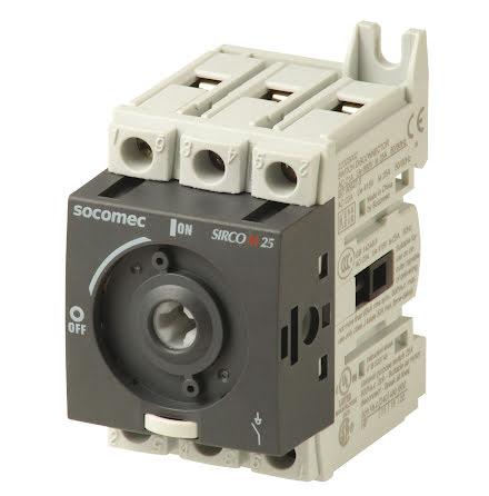 Lastbrytare 3x25A, DIN-skene montage