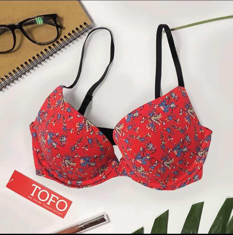 TOFO Women's Bra - Padded Floral Printed With Black Adjustable Stripes