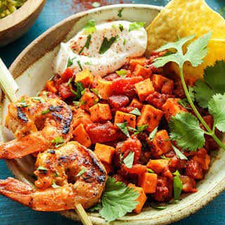 Mexican Sweet Potato and Tomato Grilled Shrimp Bowls.