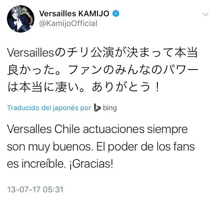 Versailles en Chile. Felicitaciones de parte de Kamijo
