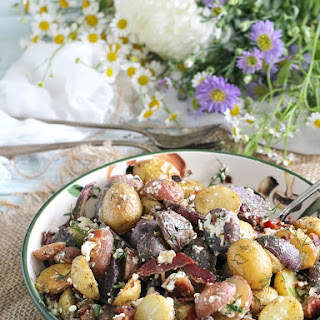 Red, White & Blue Bacon Feta Potato Salad