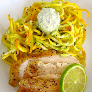 Roasted Chicken w. Yellow Zucchini Noodles & Sage Lime Butter