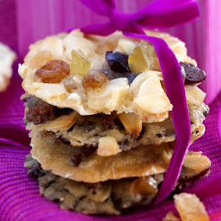 White and Dark Chocolate Fruit and Almond Cookies.