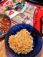 Photo: chopped dried shrimp, hot-and-sour sauce and rice stick noodles