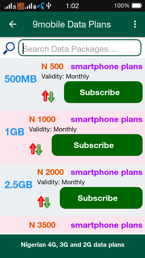 4G Data Plan Nigeria- screenshot