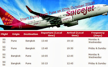Photo: Isn't it a dream!? Spice Jet (http://www.spicejet.com/) is finally starting the flights between Pune and Bangkok, one of my most favourite cities in the world, four days a week from 27th October this year. Hurray!! I have been hearing about the rumours of Bangkok direct flights to be starting from Pune Airport since the beginning of this year, which seem to be materializing now. Clear fare is not known (may be minimum Rs. 16,000 return?) yet but should be competitive rate considering that the carrier is one of the leading LLCs in India. Spending a weekend in Bangkok? It will be shortly possible for Puneits too! (Photo courtesies: Indian News and Times, and Trail Blazer Tours India) 8th October updated (日本語はこちら☆) -http://jp.asksiddhi.in/daily_detail.php?id=325