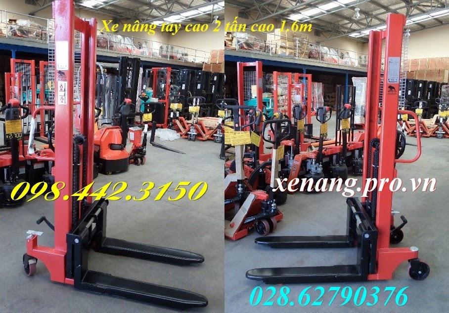Xe nâng tay cao 1.6m nâng 2000kg