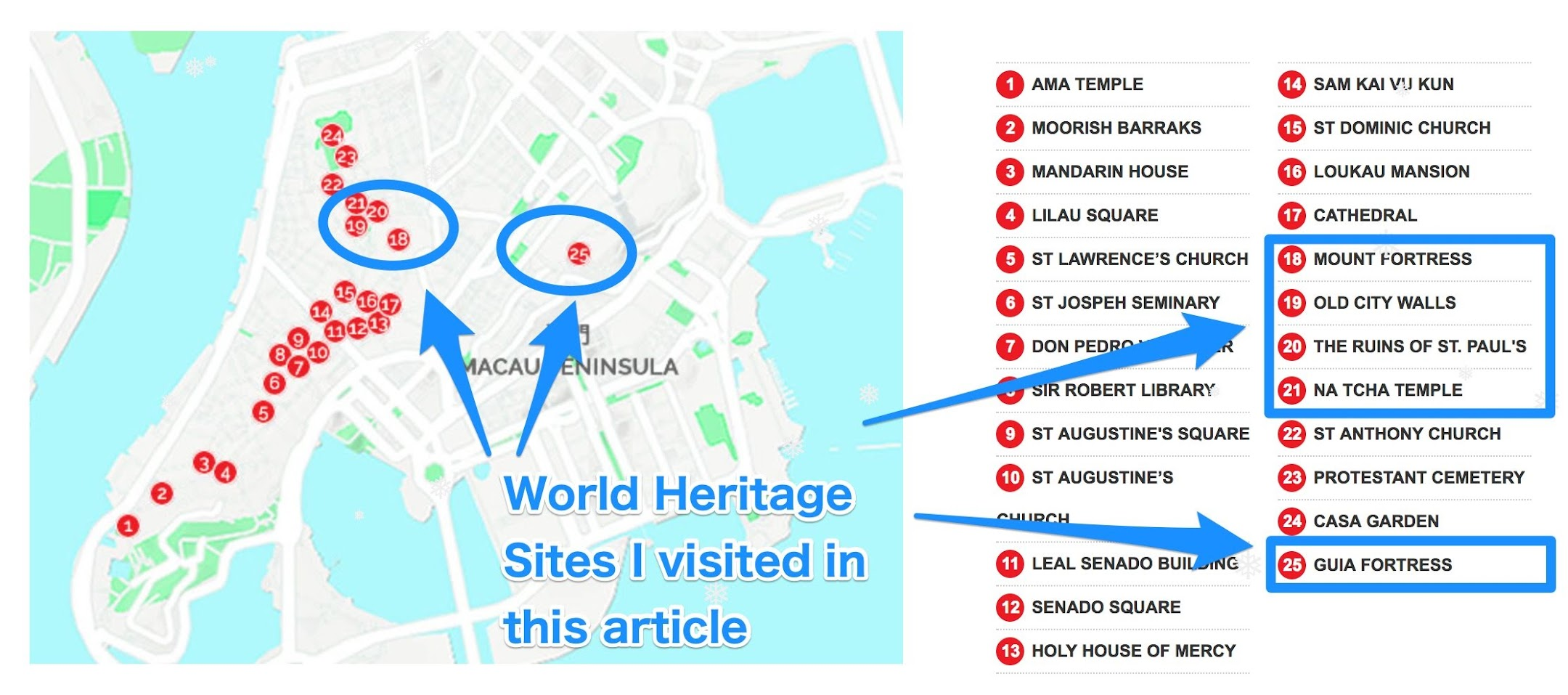 Macau World Heritage map