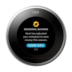 Nest thermostat seasonal savings completed
