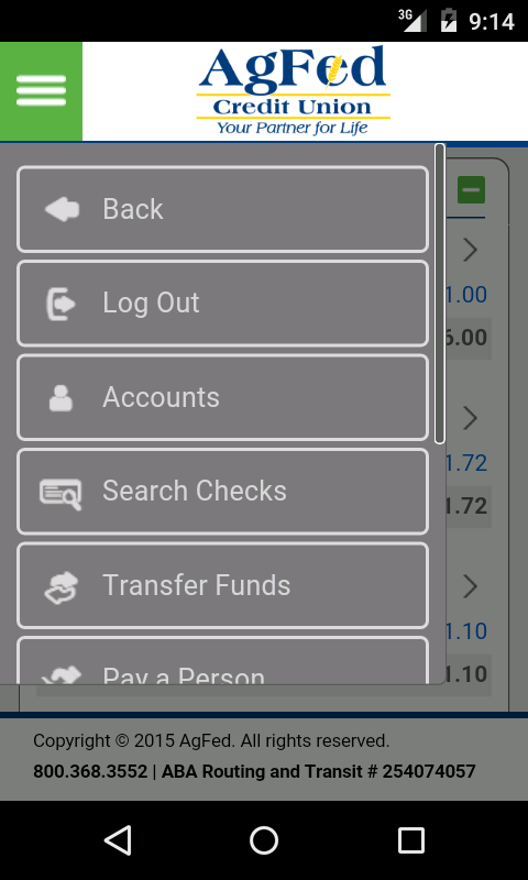 AgFed Credit Union Mobile- screenshot