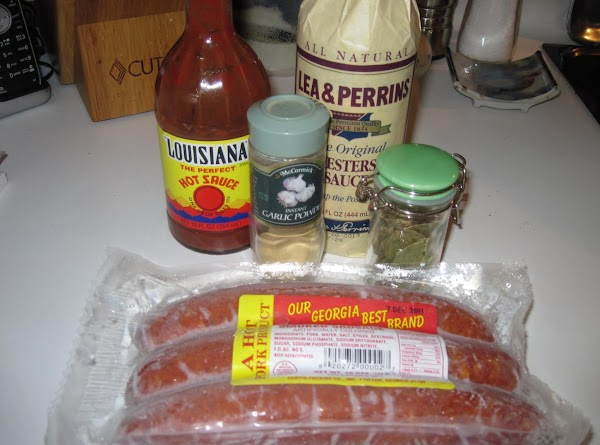 Saute 1/2 pound of cubed ham meat and 3/4 to 1 lb sausage, sliced...