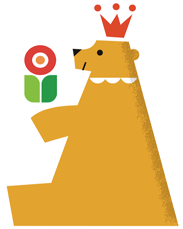 Cute, color-blocked illustration of a bear with a crown on and flower in hand by Shunsuke Satake.