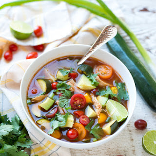 Slow Cooker Farmer's Market Mexican Chicken Soup.