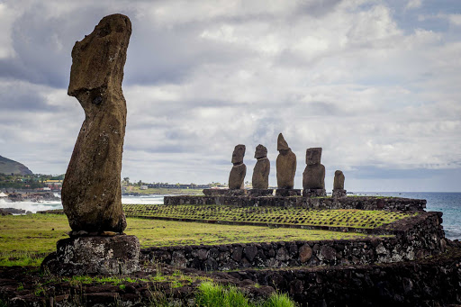 The dramatic moai of Easter Island (Rapa Nui) stand guard after years of wind and rain.