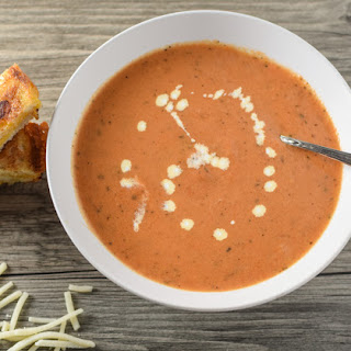 Tomato Bisque with Grilled Cheese Sticks