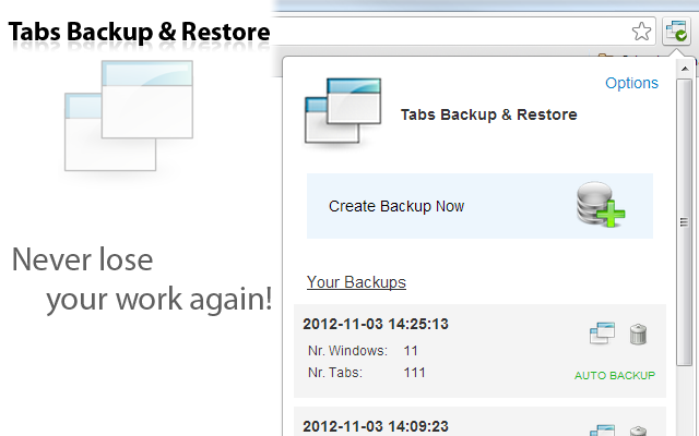 Tabs Backup & Restore Screenshot