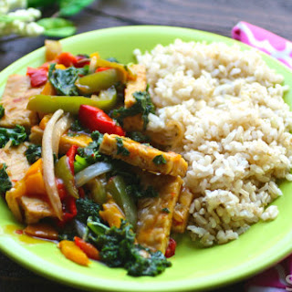 Sichuan Vegetable And Tempeh Stir-fry With Brown Rice.