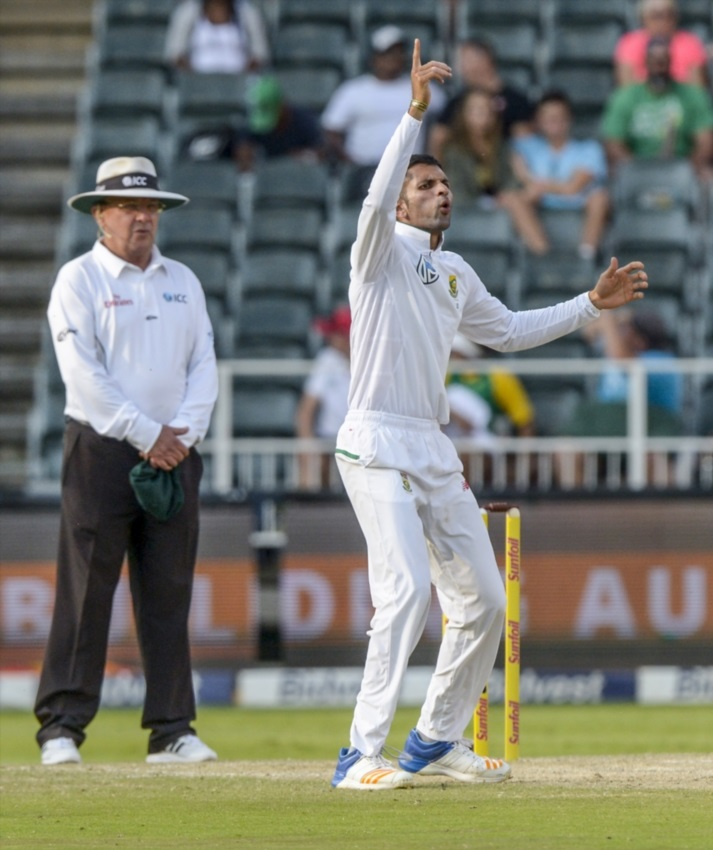 Keshav Maharaj of South Africa during day 2 of the 4th Sunfoil Test match between South Africa and Australia at Bidvest Wanderers Stadium on March 31, 2018 in Johannesburg, South Africa.