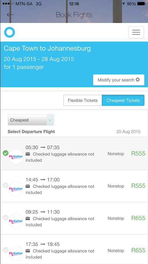 Cheap Flights South Africa- screenshot