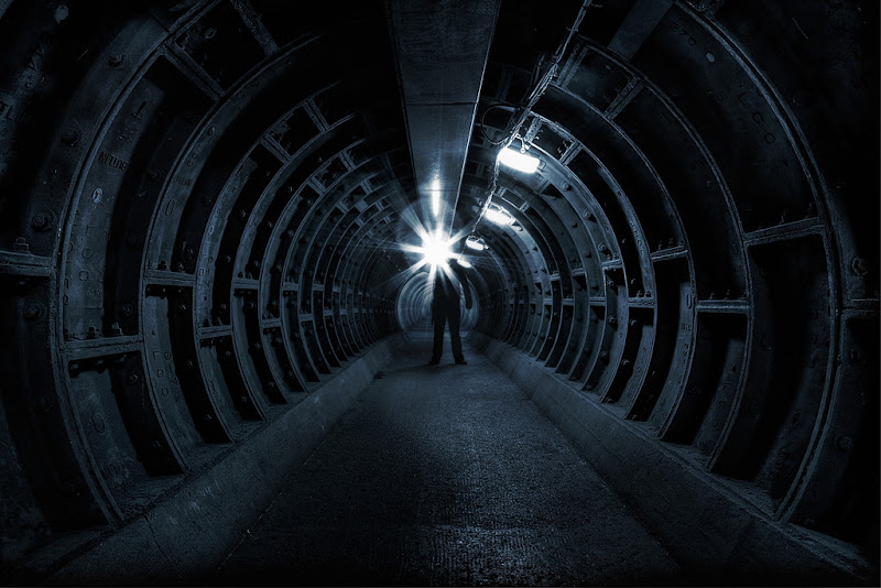 Photo: Towards The Light  Today's photoblog sees me standing in a lovely tunnel under the Thames - www.murphyz.co.uk