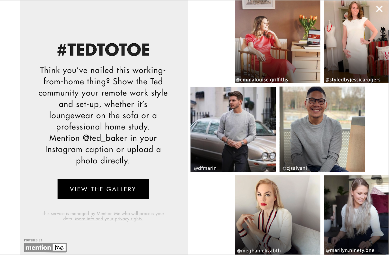 Ted Baker user-generated content message