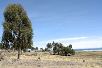 Photo: View from the hotel towards lake Titicaca.
