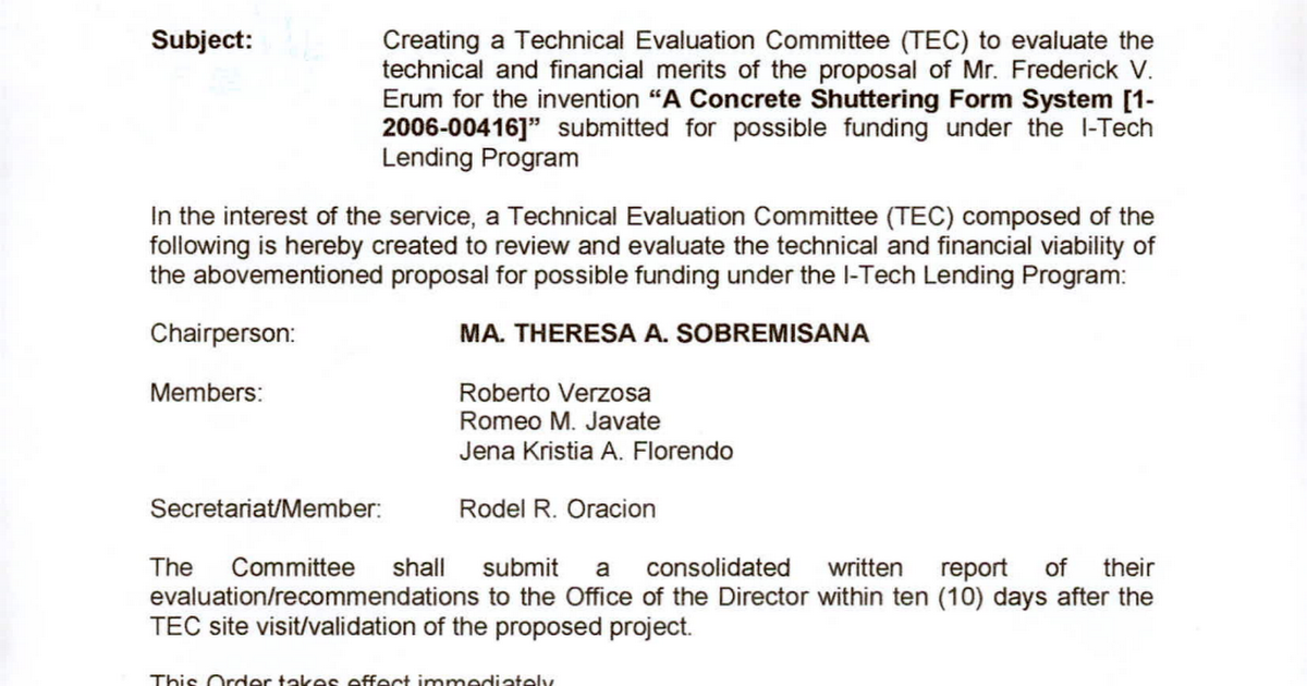 SO-2018-45-Creating a Technical Evaluation Committee (TEC