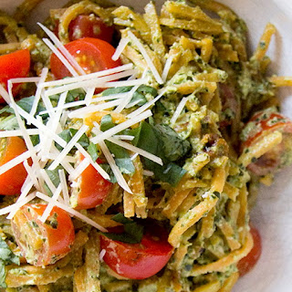 Sweet Potato Pasta with Hemp Seed and Kale Pesto.