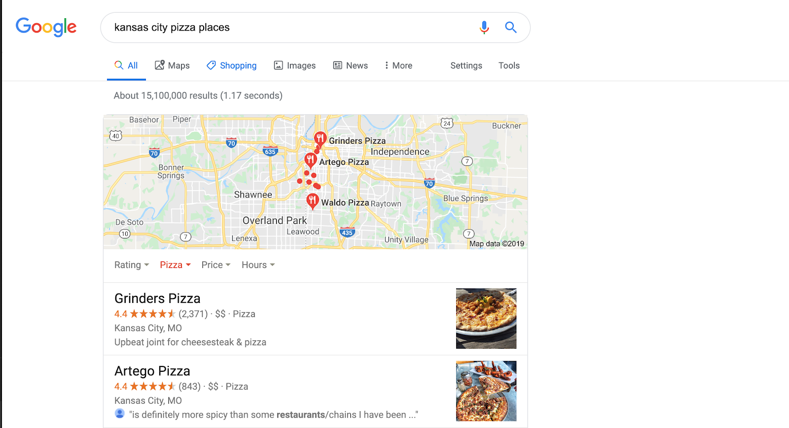 A Google screenshot of the search for Kansas City pizza places