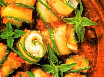 Greek Zucchini Rolls With Tomato Sauce Recipe
