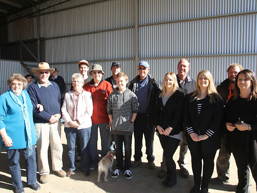 FAMILY GATHERING: Mark and Antoinette Cathcart have recently sold their property Wild Willows to CSD. Above, at Friday's clearing sale, Mark and Antoinette were joined by family members for the occasion - front, Mark's parents Anne and Bill, Joan, Mat, Jayden, Grace, Amy and Antoinette; back, Nathan, Gerard, Lyle, Mark and Terry Cathcart.