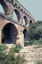 Photo: Sideview of the three tiers aqueduct bridge Pont du Gard