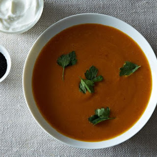 Carrot, Sweet Potato, and Red Lentil Soup with Moroccan Flavors Recipe
