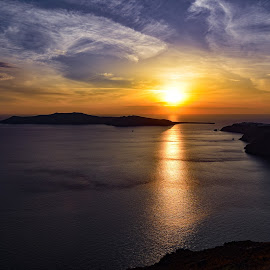 The Santorini sunset  by Anto Boyadjian - Landscapes Sunsets & Sunrises ( clouds, sunset, sea, beach, seascape )