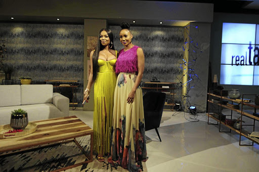 New presenter of Real Talk, Azania Mosaka, on her first outing on the show with guest Bonang Matheba.