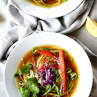 Spicy Ginger Vegetable Zoodle Soup.